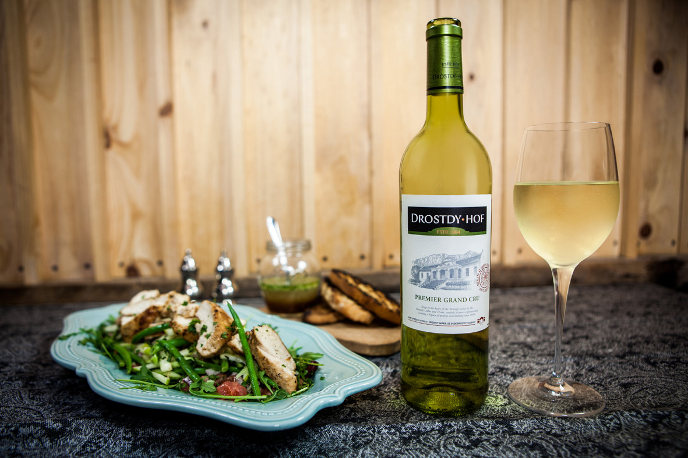 grilled thyme chicken with three-bean and apple salad