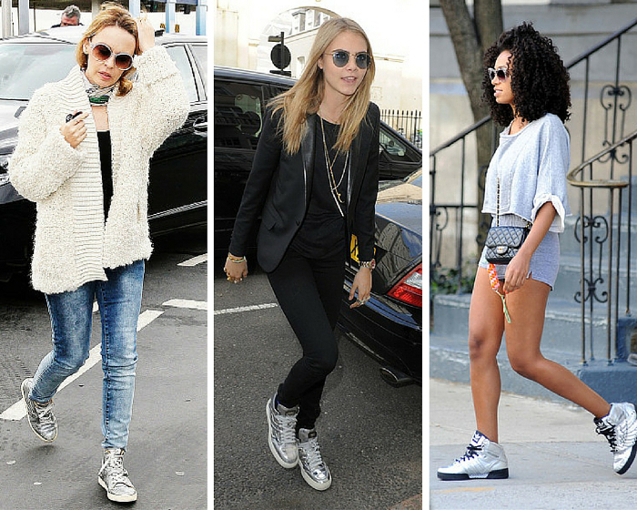 Celebrity silver sneakers
