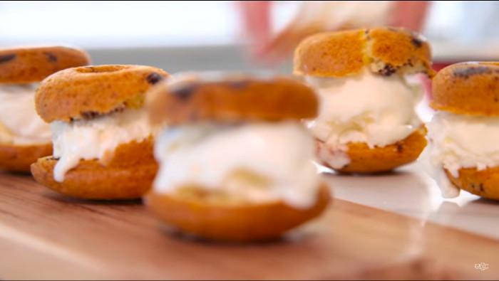 Mini doughnut ice cream sandwiches