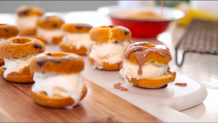 Mini doughnut ice cream sandwiches