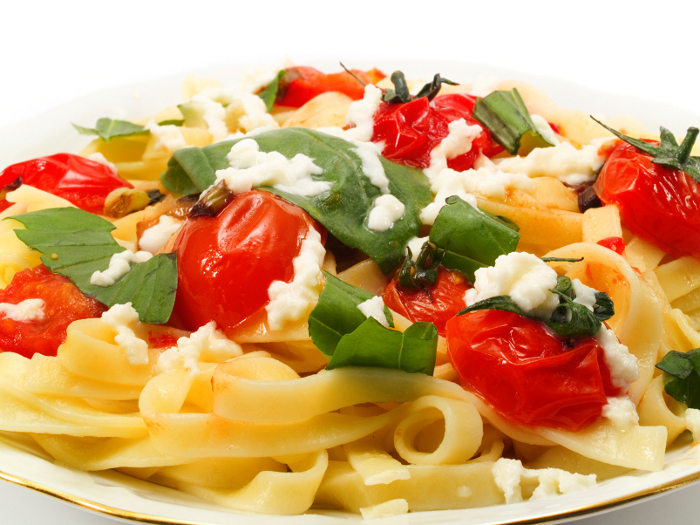 Tagliatelle with Ripe Tomatoes, Mozzarella, and Basil.