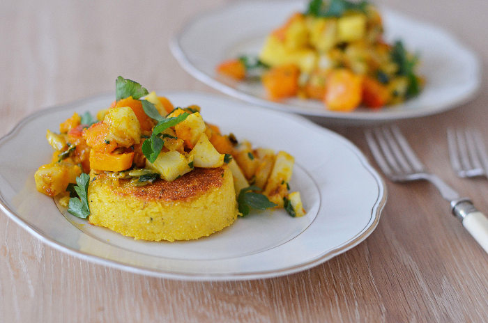 Polenta Cakes with a Winter Vegetable Topping