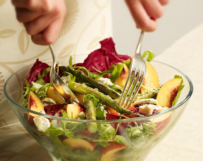 Nectarine, Asparagus and Blue Cheese Salad