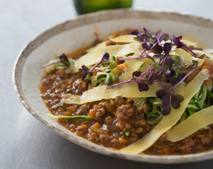 Light Beer & Beef Bolognaise with Courgette Spaghetti