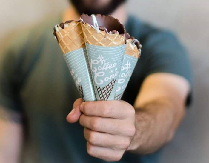 Coffee chocolate cone