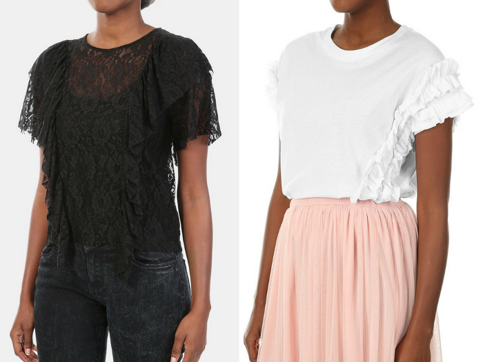 White Lace Ruffle Top - R89.99, MRP | Black Lace Ruffle Top - R89.99, MRP.