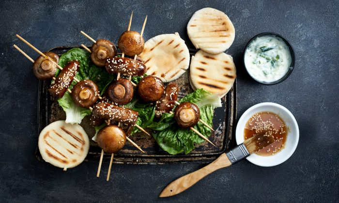 STICKY, SMOKEY SAUSAGE AND MUSHROOM SKEWERS