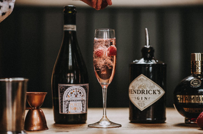 Hendrick's Raspberry Rose Royale cocktail