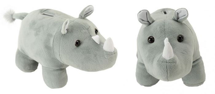 rhino coin bank wildlife act feature