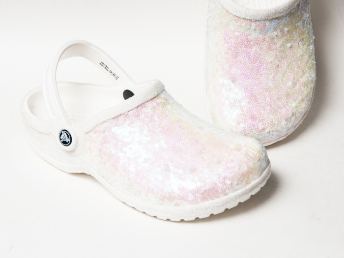 Sequinned Bridal Crocs