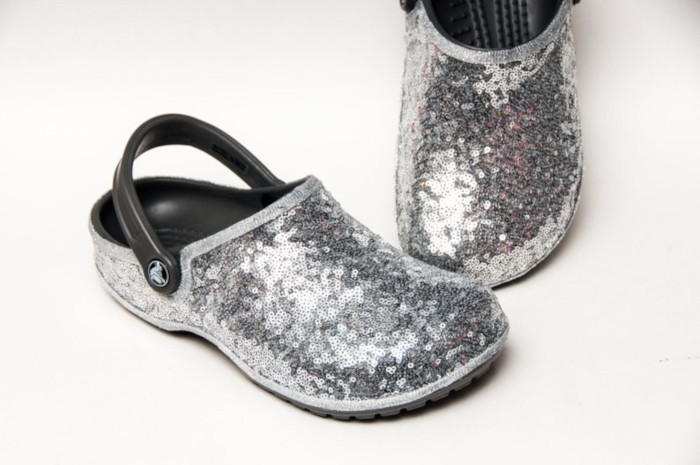 Sequinned Bridal Crocs