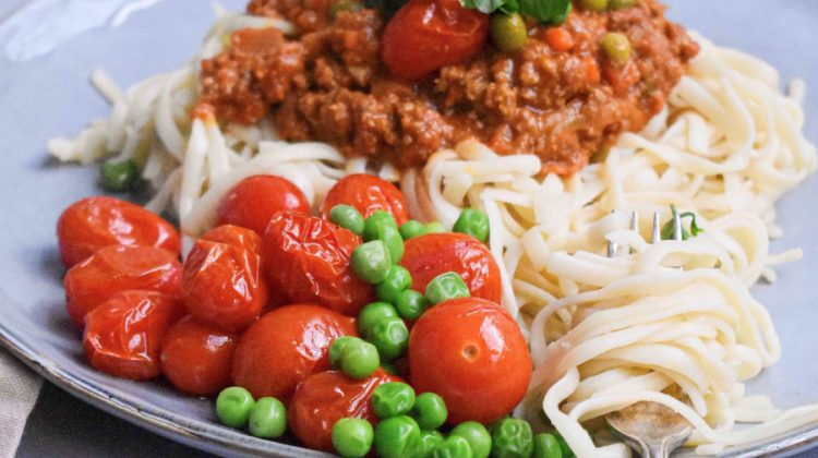 Spaghetti Marinara with beef and peas