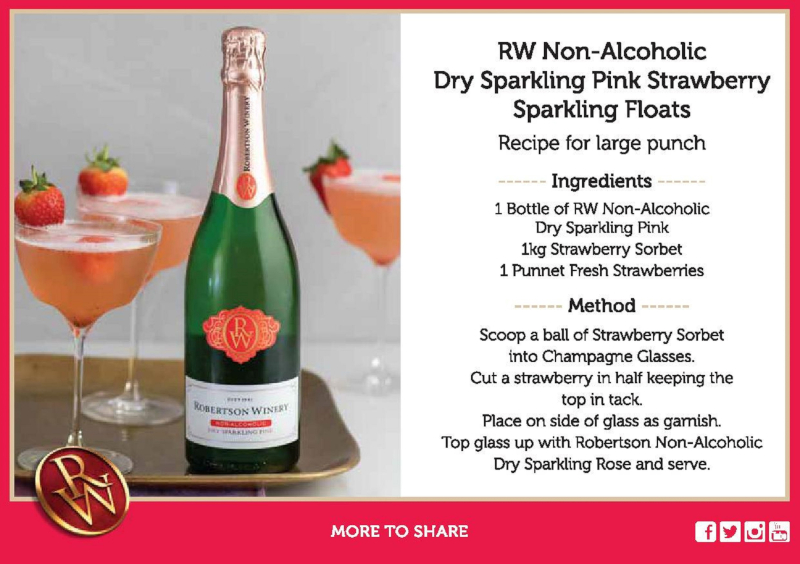 ROBERTSON WINERY NON-ALCOHOLIC DRY SPARKLING PINK STRAWBERRY SPARKLING FLOATS